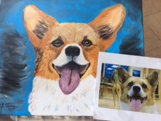 Pet Painting done to recharge while children are stuck at home